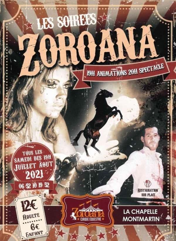 Spectacle Zoroana (numéro aérien, équestre et de feu, etc....)