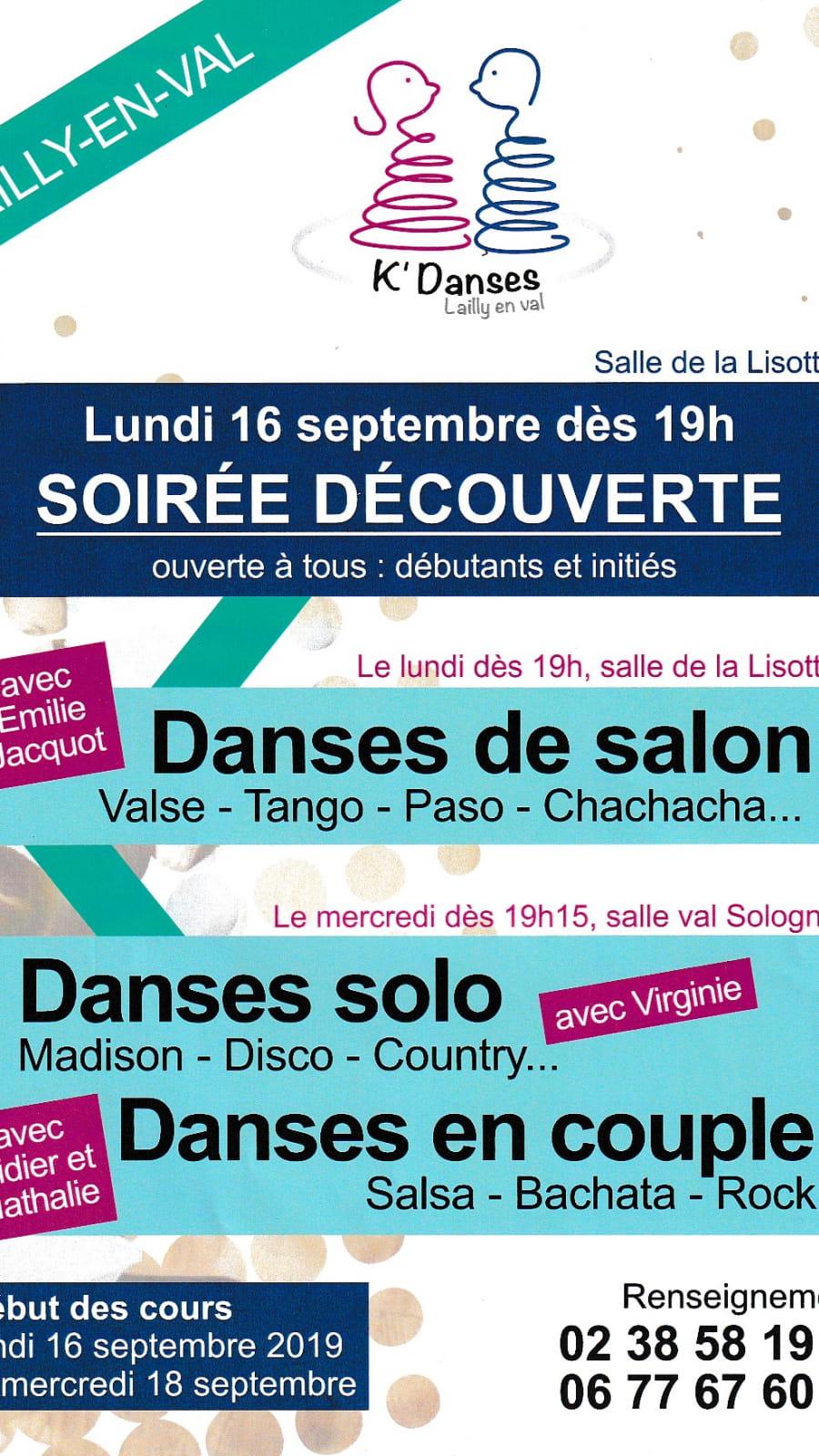 Soirée découverte de danses le lundi 1 septembre à Lailly-en-Val