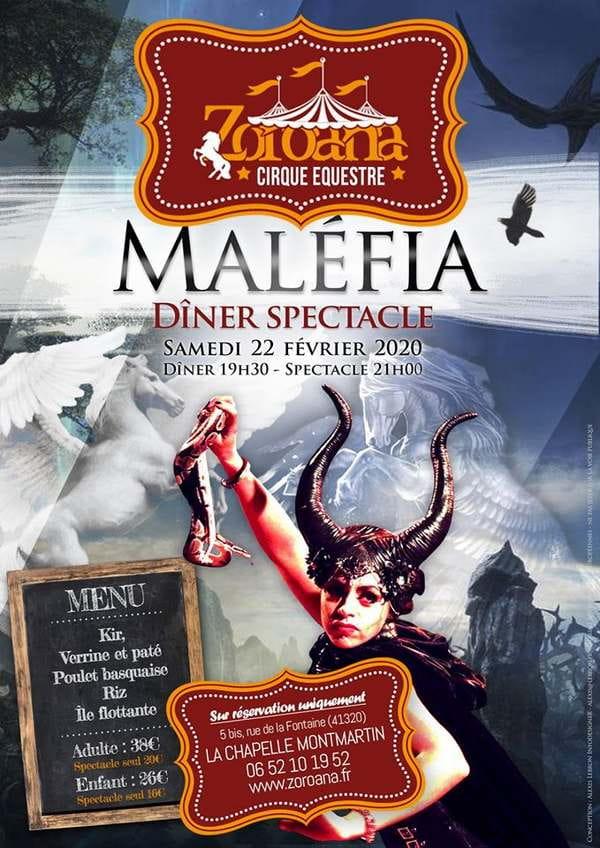 Diner spectacle 'Maléfia'à la Chapelle Montmartin